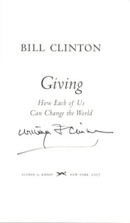 PRESIDENT WILLIAM J. BILL CLINTON - BOOK SIGNED