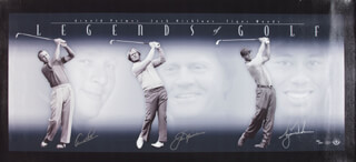 TIGER WOODS - PRINTED ART SIGNED CO-SIGNED BY: JACK NICKLAUS, ARNOLD PALMER