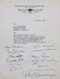 Autographs: CARY GRANT - DOCUMENT SIGNED 05/24/1938 CO-SIGNED BY: RANDOLPH SCOTT, MARY BOLAND, JOAN BENNETT, ROBERT BOB CUMMINGS, JOHN HOWARD, MARY CARLISLE, HENRY FONDA, FRED MacMURRAY, JOHNNY DOWNS, BING CROSBY, JACK BENNY, BETTY GRABLE