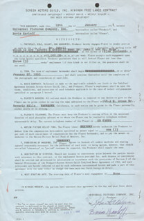 BORIS KARLOFF - CONTRACT SIGNED 01/19/1953