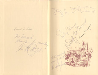 GONE WITH THE WIND MOVIE CAST - INSCRIBED BOOK SIGNED CO-SIGNED BY: OLIVIA DE HAVILLAND, ANN RUTHERFORD, VICTOR JORY, EVELYN KEYES, BUTTERFLY McQUEEN, SUSAN MYRICK