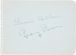 GRACIE ALLEN - AUTOGRAPH CO-SIGNED BY: GEORGE BURNS