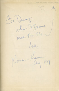 NORMAN KRASNA - INSCRIBED BOOK SIGNED 08/1959
