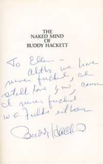 BUDDY HACKETT - INSCRIBED BOOK SIGNED