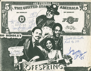 BO DIDDLEY - INSCRIBED ADVERTISEMENT SIGNED 1983 CO-SIGNED BY: NEIL MCDANIEL, TAMMI DEANNE MCDANIEL, KAY MCDANIEL