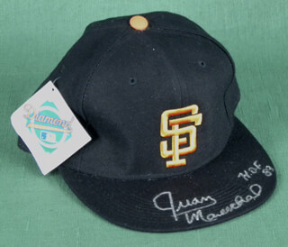 Autographs: THE SAN FRANCISCO GIANTS - HAT SIGNED CO-SIGNED BY: JUAN MARICHAL, ROBBY THOMPSON, MATT THE BAT WILLIAMS, KIRT MANWARING