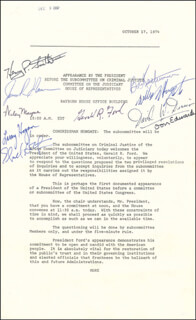 PRESIDENT GERALD R. FORD - DOCUMENT SIGNED CIRCA 1974 CO-SIGNED BY: DON (WILLIAM DONLON) EDWARDS, HENRY P. SMITH III, GOVERNOR LAWRENCE J. HOGAN, WILEY MAYNE, ROBERT W. KASTENMEIER, DAVID W. DENNIS, WILLIAM L. HUNGATE, JAMES R. MANN, ELIZABETH HOLTZMAN
