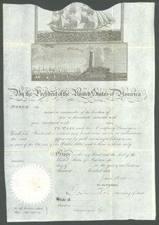 PRESIDENT JAMES MADISON - WHALING SHIPS PAPERS SIGNED CO-SIGNED BY: ROBERT SMITH (POLITICIAN)