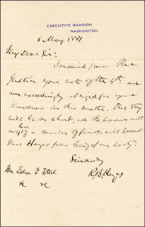 PRESIDENT RUTHERFORD B. HAYES - AUTOGRAPH LETTER SIGNED 05/06/1877