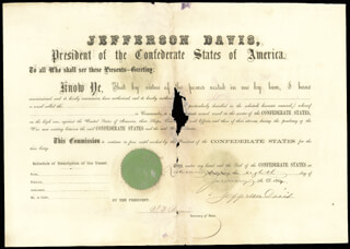 Autographs: PRESIDENT JEFFERSON DAVIS (CONFEDERATE STATES OF AMERICA) - NAVAL APPOINTMENT SIGNED 01/08/1864 CO-SIGNED BY: JUDAH P. BENJAMIN