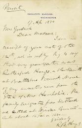 PRESIDENT RUTHERFORD B. HAYES - AUTOGRAPH LETTER SIGNED 04/17/1880