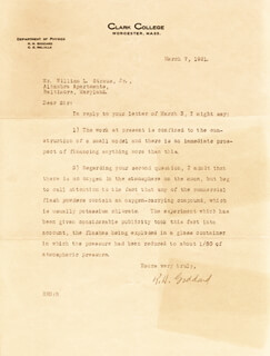 ROBERT H. GODDARD - TYPED LETTER SIGNED 03/07/1921