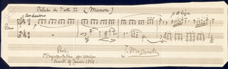 JULES MASSENET - MUSICAL QUOTATION SIGNED 01/19/1884
