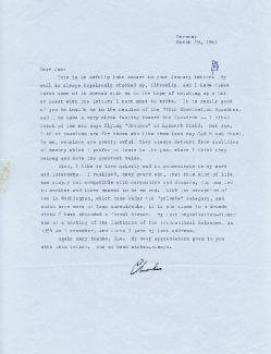CHARLES A. LINDBERGH - TYPED LETTER SIGNED 03/19/1963