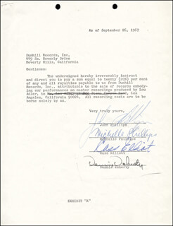 THE MAMAS AND THE PAPAS - DOCUMENT SIGNED 09/26/1967 CO-SIGNED BY: CASS MAMA CASS ELLIOT, DENNIS DOHERTY, JOHN PHILLIPS, MICHELLE G. PHILLIPS