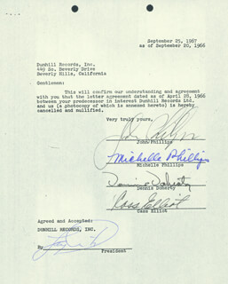 THE MAMAS AND THE PAPAS - DOCUMENT SIGNED 09/20/1966 CO-SIGNED BY: CASS MAMA CASS ELLIOT, DENNIS DOHERTY, JOHN PHILLIPS, MICHELLE G. PHILLIPS
