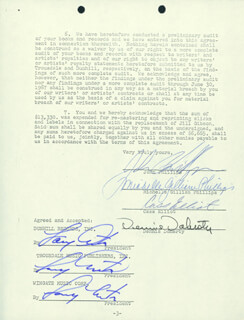 THE MAMAS AND THE PAPAS - DOCUMENT SIGNED 09/28/1967 CO-SIGNED BY: CASS MAMA CASS ELLIOT, DENNIS DOHERTY, JOHN PHILLIPS, MICHELLE G. PHILLIPS