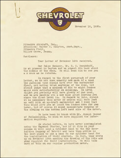 LOUIS J. CHEVROLET - TYPED LETTER SIGNED 11/18/1930