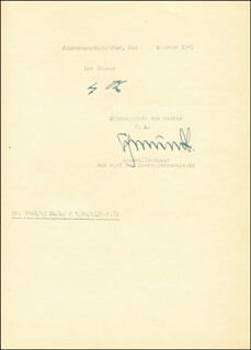 ADOLF DER FUHRER HITLER - DOCUMENT SIGNED CIRCA 1943 CO-SIGNED BY: RUDOLF SCHMUNDT