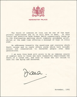 Autographs: PRINCESS DIANA OF WALES (GREAT BRITAIN) - TYPESCRIPT SIGNED 11/1992
