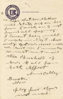 ANNIE LITTLE SURE SHOT OAKLEY - AUTOGRAPH LETTER SIGNED 9/24