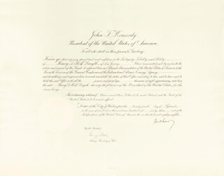 Autographs: PRESIDENT JOHN F. KENNEDY - DIPLOMATIC APPOINTMENT SIGNED 09/24/1963 CO-SIGNED BY: GEORGE W. BALL