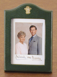 PRINCESS DIANA OF WALES (GREAT BRITAIN) - PHOTOGRAPH MOUNT SIGNED 1992 CO-SIGNED BY: PRINCE CHARLES OF WALES (GREAT BRITAIN)