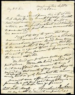 PRESIDENT ANDREW JACKSON - AUTOGRAPH LETTER DOUBLE SIGNED 09/03/1829
