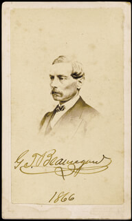 Autographs: GENERAL PIERRE G.T. BEAUREGARD - PHOTOGRAPH SIGNED 1866