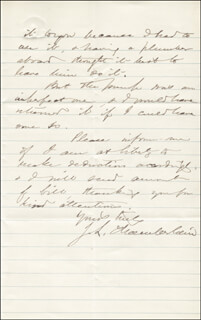 Autographs: MAJOR GENERAL JOSHUA LAWRENCE CHAMBERLAIN - AUTOGRAPH LETTER SIGNED 09/23/1871