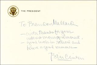 PRESIDENT WILLIAM J. BILL CLINTON - AUTOGRAPH NOTE SIGNED