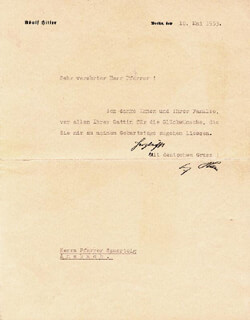 ADOLF DER FUHRER HITLER - TYPED LETTER SIGNED 05/10/1933