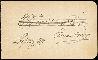 Autographs: EDVARD GRIEG - AUTOGRAPH MUSICAL QUOTATION SIGNED 1890 CO-SIGNED BY: ERNESTINE SCHUMANN-HEINK