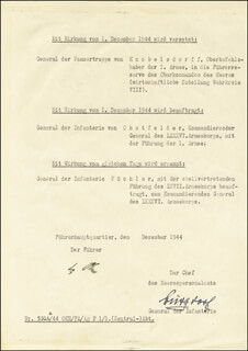 ADOLF DER FUHRER HITLER - DOCUMENT SIGNED CIRCA 1944 CO-SIGNED BY: GENERAL WILHELM BURGDORF
