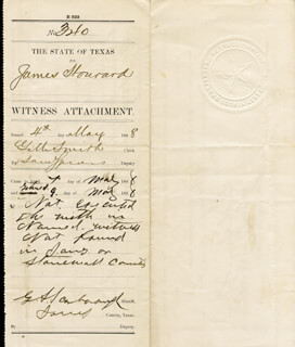 GEORGE SCARBOROUGH - AUTOGRAPH DOCUMENT SIGNED 05/09/1888