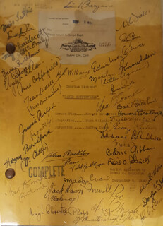 Autographs: DAVID COPPERFIELD MOVIE CAST - SCRIPT SIGNED CIRCA 1934 CO-SIGNED BY: ELIZABETH ALLAN, W. C. FIELDS, EDNA MAY OLIVER, JESSIE RALPH, LEWIS STONE, HUGH WILLIAMS, FRANK LAWTON, FAY CHALDECOTT, JEAN CADELL, HARRY BERESFORD, JOHN BUCKLER, OLIVER T MARSH, UNA O'CONNOR, MARILYN KNOWLDEN, SIR HUGH WALPOLE, FREDDIE BARTHOLOMEW, HOWARD ESTABROOK, BASIL RATHBONE, ROLAND YOUNG, LIONEL BARRYMORE, MADGE EVANS, MAUREEN O'SULLIVAN, DAVID O. SELZNICK, LENNOX PAWLE, MABEL COLCORD, VIOLET KEMBLE-COOPER