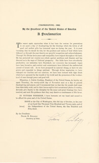 Autographs: PRESIDENT CALVIN COOLIDGE - PROCLAMATION SIGNED CIRCA 1928