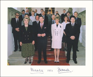 PRINCESS DIANA OF WALES (GREAT BRITAIN) - PHOTOGRAPH MOUNT SIGNED 1991 CO-SIGNED BY: PRINCE CHARLES OF WALES (GREAT BRITAIN)