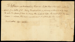 PRESIDENT THOMAS JEFFERSON - THIRD PERSON AUTOGRAPH LETTER 04/30/1812