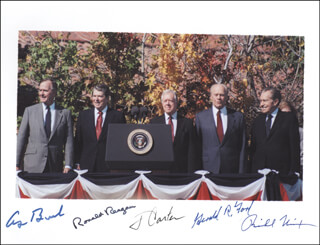 Autographs: THE FIVE PRESIDENTS - PHOTOGRAPH SIGNED CO-SIGNED BY: PRESIDENT JAMES E. JIMMY CARTER, PRESIDENT RONALD REAGAN, PRESIDENT GEORGE H.W. BUSH, PRESIDENT RICHARD M. NIXON, PRESIDENT GERALD R. FORD