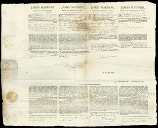 PRESIDENT JAMES MADISON - FOUR LANGUAGE SHIPS PAPERS SIGNED 01/18/1812 CO-SIGNED BY: PRESIDENT JAMES MONROE