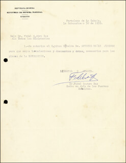 Autographs: PRESIDENT FIDEL CASTRO (CUBA) - DOCUMENT SIGNED 01/30/1959
