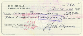 JACK KEROUAC - AUTOGRAPHED SIGNED CHECK 06/13/1960 - HFSID 286018