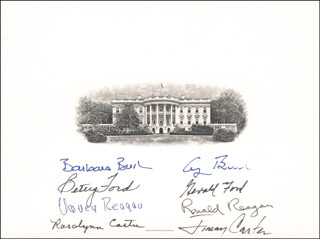 THE FOUR PRESIDENTS - WHITE HOUSE ENGRAVING SIGNED CO-SIGNED BY: PRESIDENT JAMES E. JIMMY CARTER, FIRST LADY NANCY DAVIS REAGAN, FIRST LADY BARBARA BUSH, FIRST LADY BETTY FORD, PRESIDENT RONALD REAGAN, PRESIDENT GEORGE H.W. BUSH, FIRST LADY ROSALYNN CARTER, PRESIDENT GERALD R. FORD