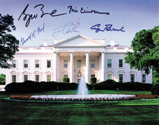 THE FIVE PRESIDENTS - AUTOGRAPHED SIGNED PHOTOGRAPH CO-SIGNED BY: PRESIDENT JAMES E. JIMMY CARTER, PRESIDENT WILLIAM J. BILL CLINTON, PRESIDENT GEORGE H.W. BUSH, PRESIDENT GERALD R. FORD, PRESIDENT GEORGE W. BUSH