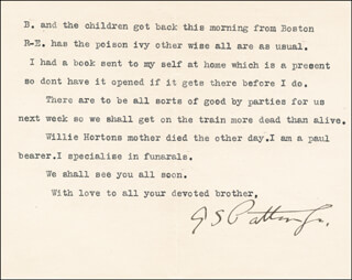 GENERAL GEORGE S. PATTON JR. - TYPED LETTER SIGNED 12/05/1922