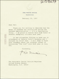 PRESIDENT WILLIAM J. BILL CLINTON - TYPED LETTER SIGNED 02/20/1997