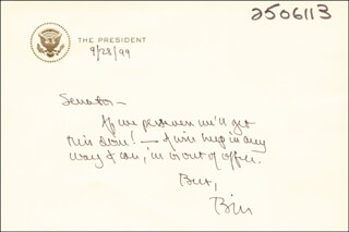 PRESIDENT WILLIAM J. BILL CLINTON - AUTOGRAPH NOTE SIGNED 09/28/1999