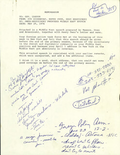 PRESIDENT JAMES E. JIMMY CARTER - ANNOTATED SPEECH UNSIGNED CIRCA 1976