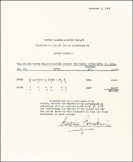 GEORGE GERSHWIN - DOCUMENT SIGNED 09/30/1929